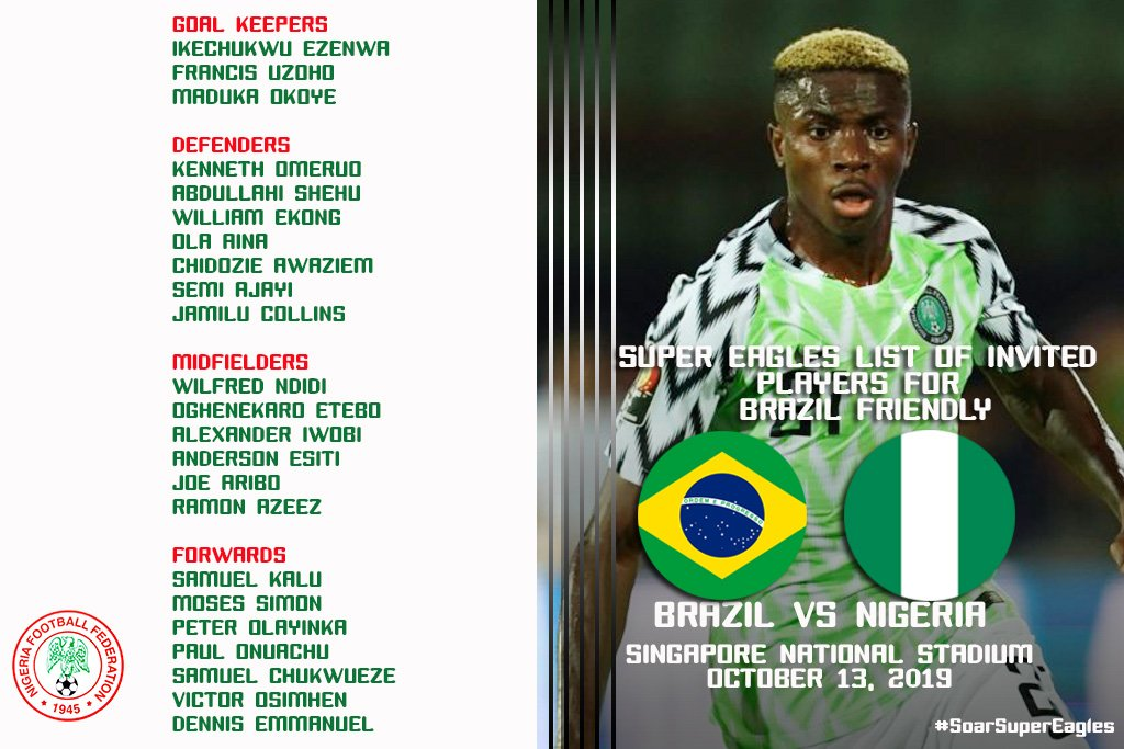 Ndidi, Iwobi, Aribo Named In Nigeria's 23-Man Squad For Brazil Friendly